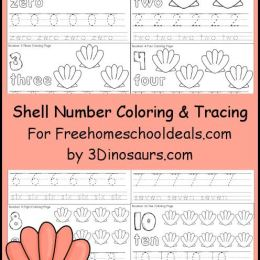 FREE SHELL NUMBER TRACE & COLOR PRINTABLES (Instant Download)