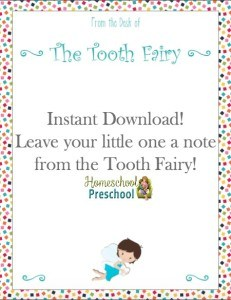 Free Tooth Fairy Note for Kids