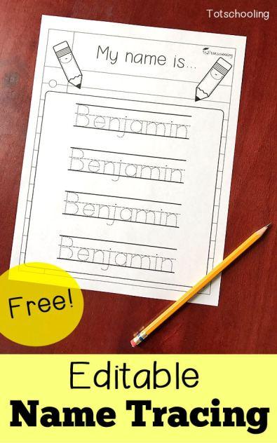 Free Editable Name Tracing Worksheet Free Homeschool Deals