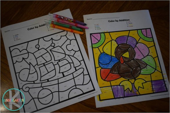 Free Thanksgiving Color by Addition