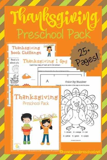 Free Thanksgiving Preschool Printable Pack