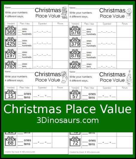 Free Christmas Place Value Worksheets