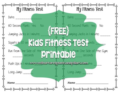 Free Kids Fitness Test Printables