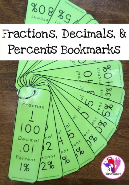 Free Fractions, Decimals, & Percents Bookmarks