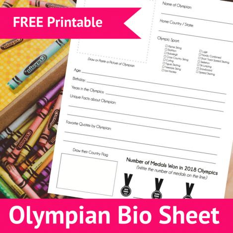 Free Olympian Bio Sheets