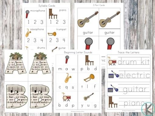 Free Musical Instruments Worksheet Pack