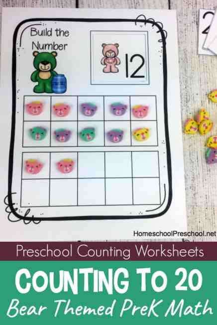 Free Preschool Bear Counting Printables