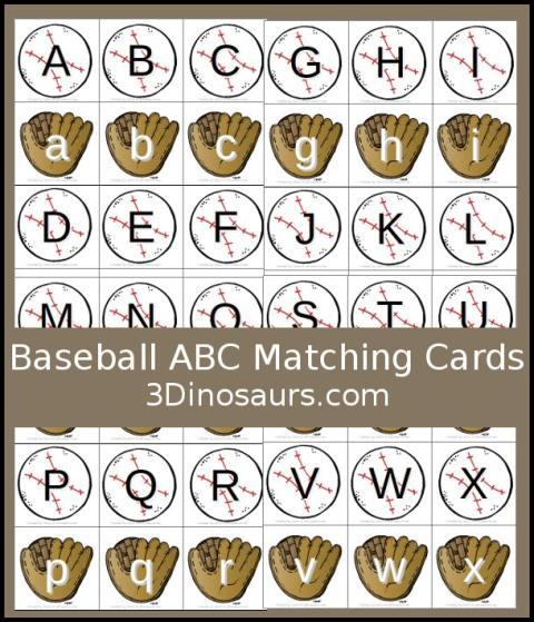 Free Baseball Alphabet Matching Cards
