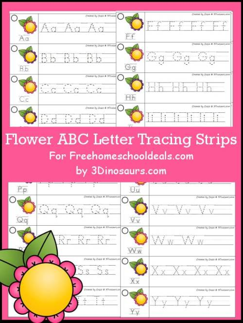 FREE FLOWER ABC TRACING STRIPS (Instant Download)