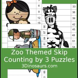 Free Zoo Skip Counting by 3s Puzzles