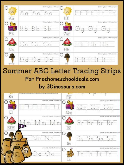 FREE SUMMER ABC TRACING STRIPS (Instant Download)