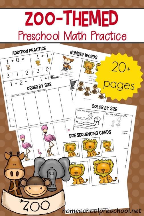 Free Preschool Zoo Math Worksheets