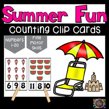 Free Summer Fun Counting Clip Cards