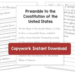Free Preamble to the Constitution Copywork