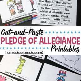Free Pledge of Allegiance Words Cut & Paste Printable