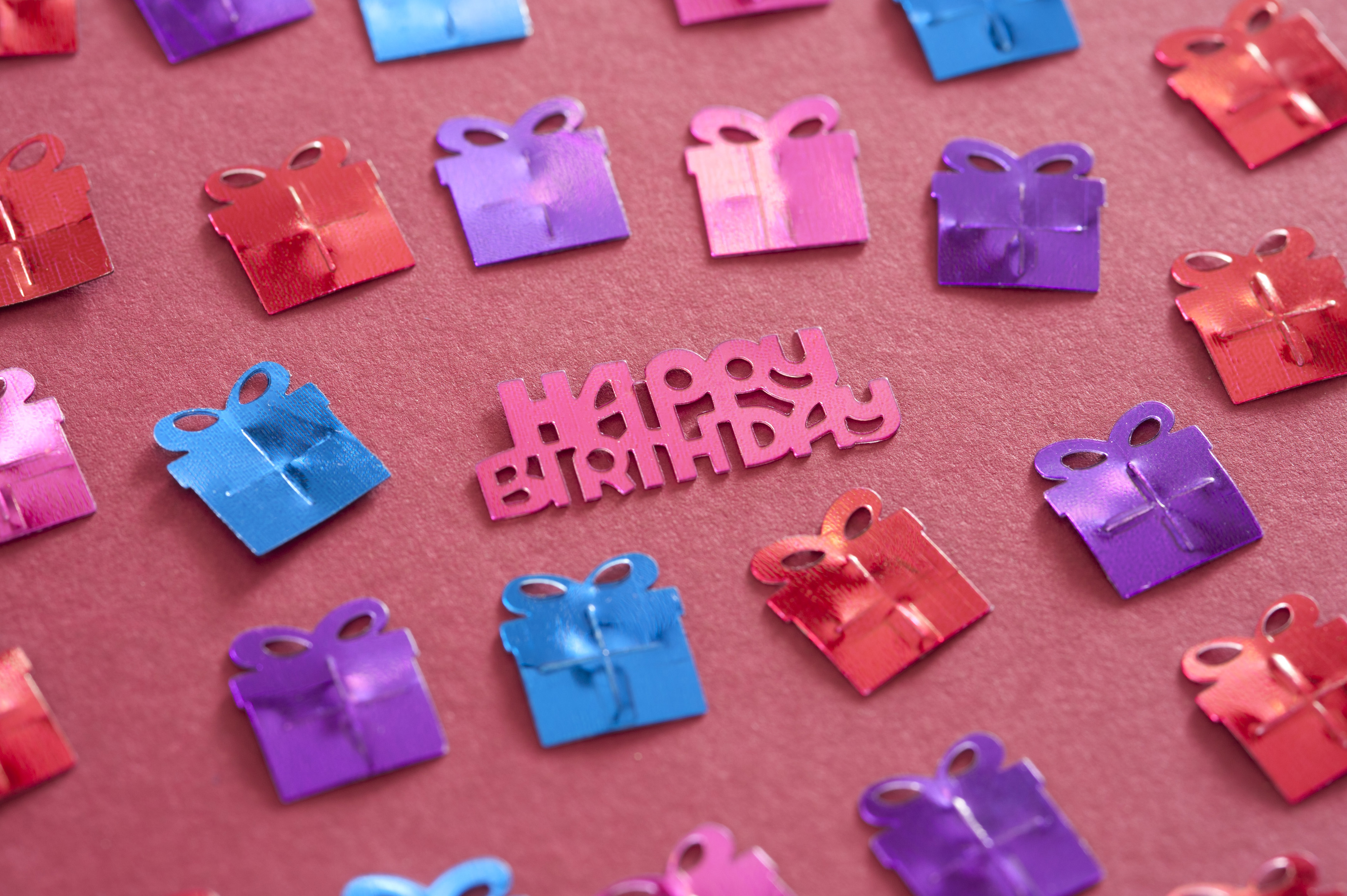 Free Stock Photo 11458 Happy Birthday Background With Gifts And Text Freeimageslive