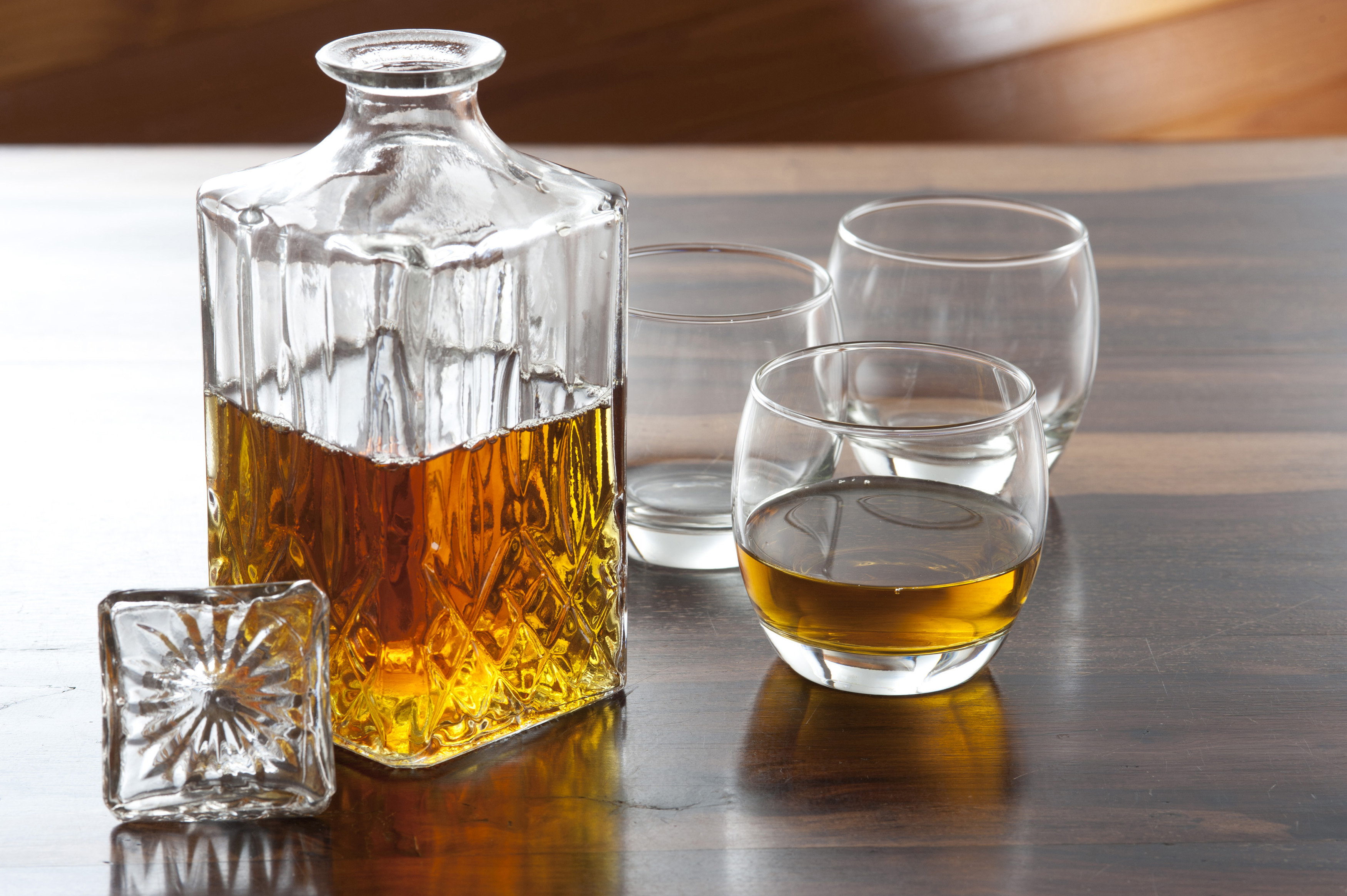 Free Stock Photo 11609 Bottle Of Whisky And Three Glasses