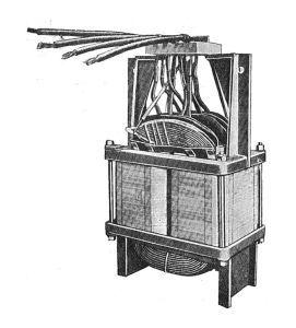 A drawing of an original Westinghouse transformer