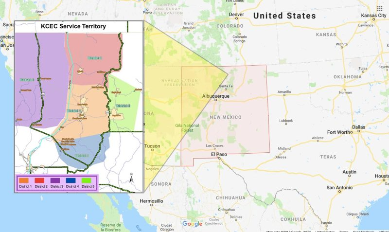 The territory serviced by the Kit Carson Electric Cooperative