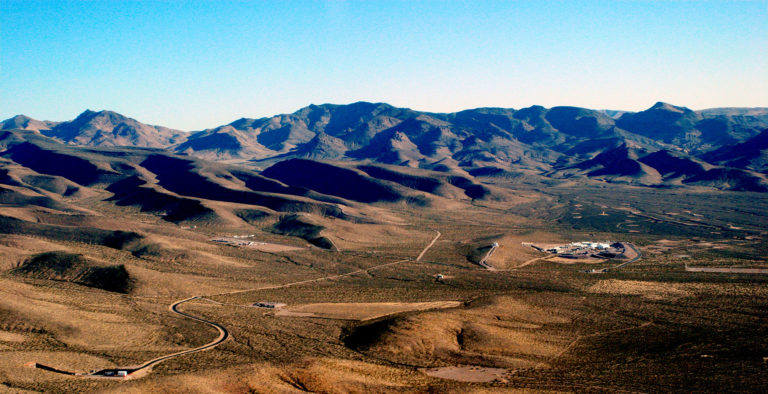Aerial view of the facilities originally built as part of the national nuclear waste repository in Yucca Mountain
