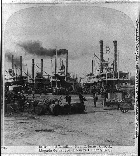 steamboats powered by coal landing New Orleans 1891