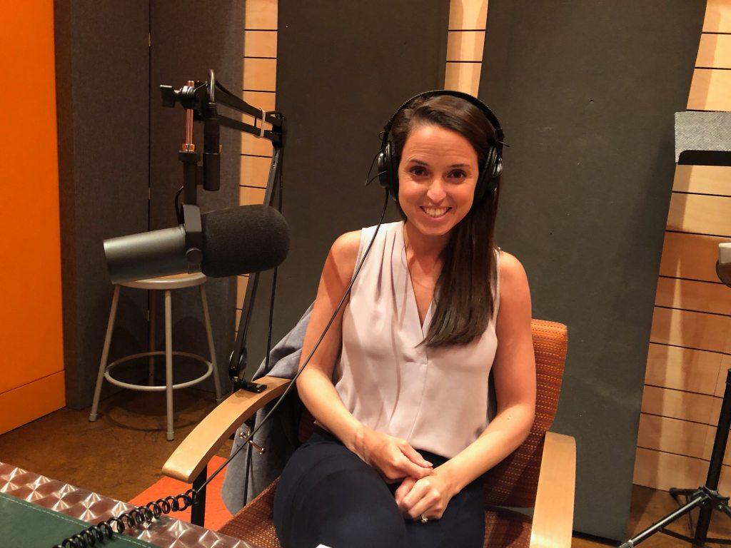 Emily Morris of Emrgy in the recording studio