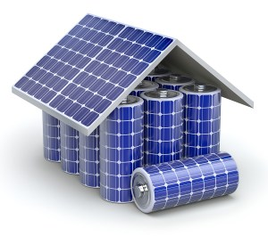 Stock photo - solar battery house