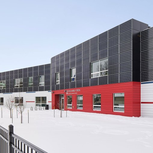 Mill Creek School in Alberta Canada, renovation by Metasolar