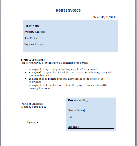 Rent Invoice Template Free Download
