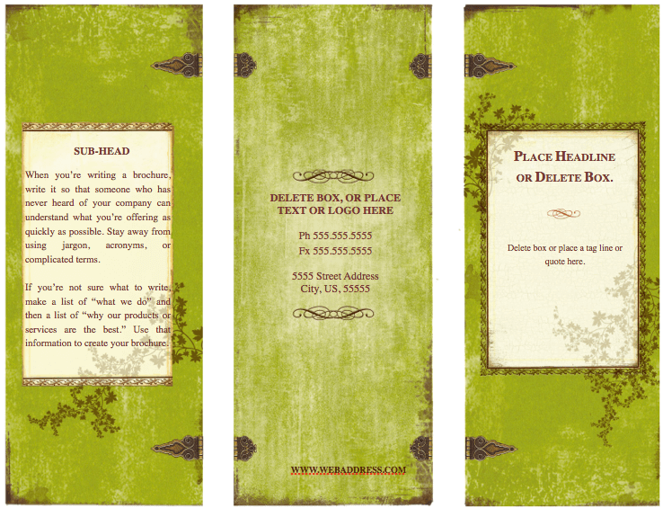 weathered tri fold brochure template for pages free iwork templates