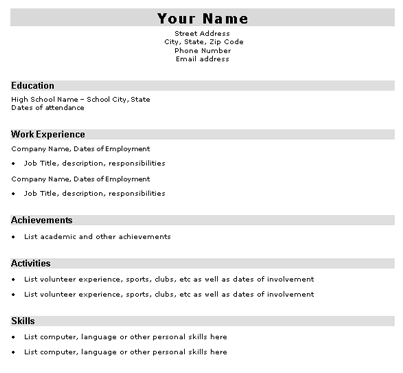 1 high school student resume worksheet resume sample for high