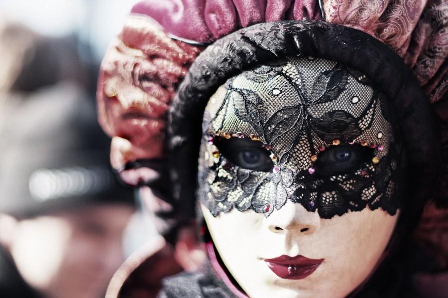 mujer, mascara, disfraz, velo, rostro, carnaval, femenino, mirando a la camara,