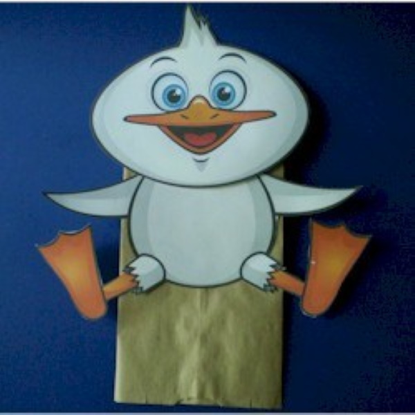 Duck puppet made from paper bag