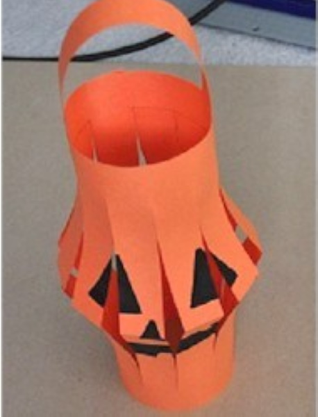 Chinese Halloween Jack-O-Lantern made from construction paper.
