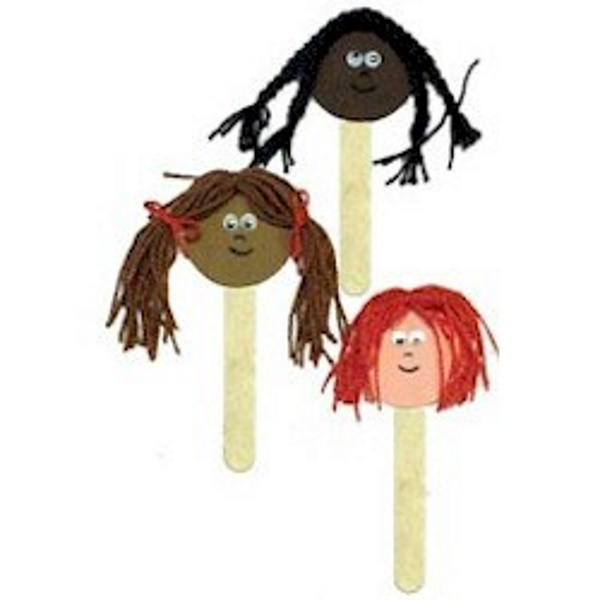 Puppets showing different skin tones and hair.