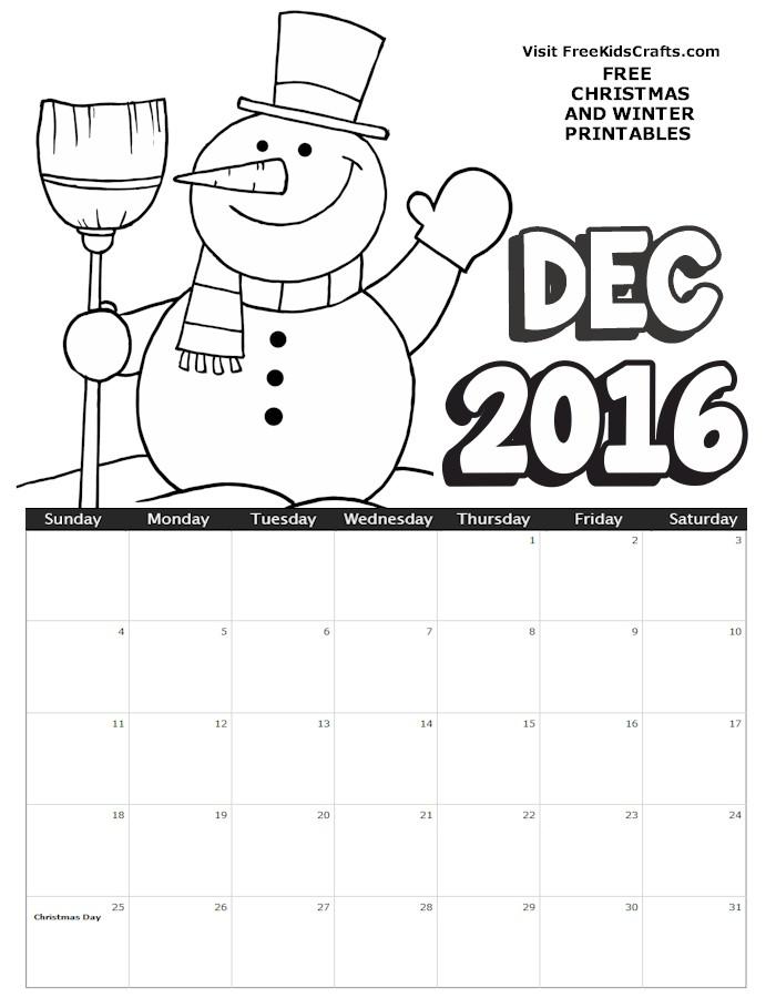 Image of 2016 December Coloring Calendar