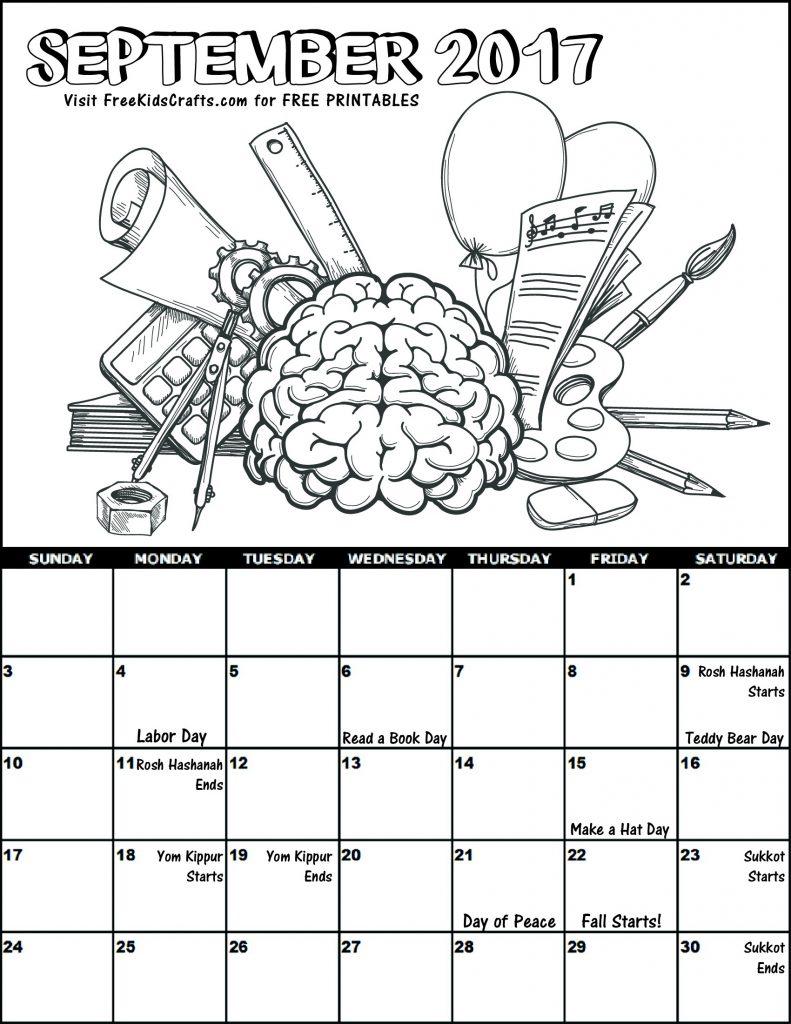 Printable 2017 September Coloring Calendar
