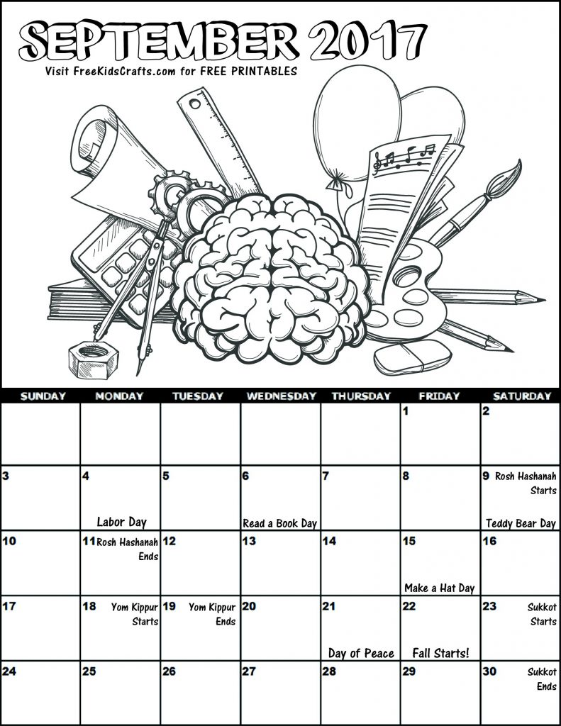 Image of 2017 September Coloring Calendar