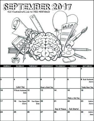 Image of 2017 September Coloring Calendar