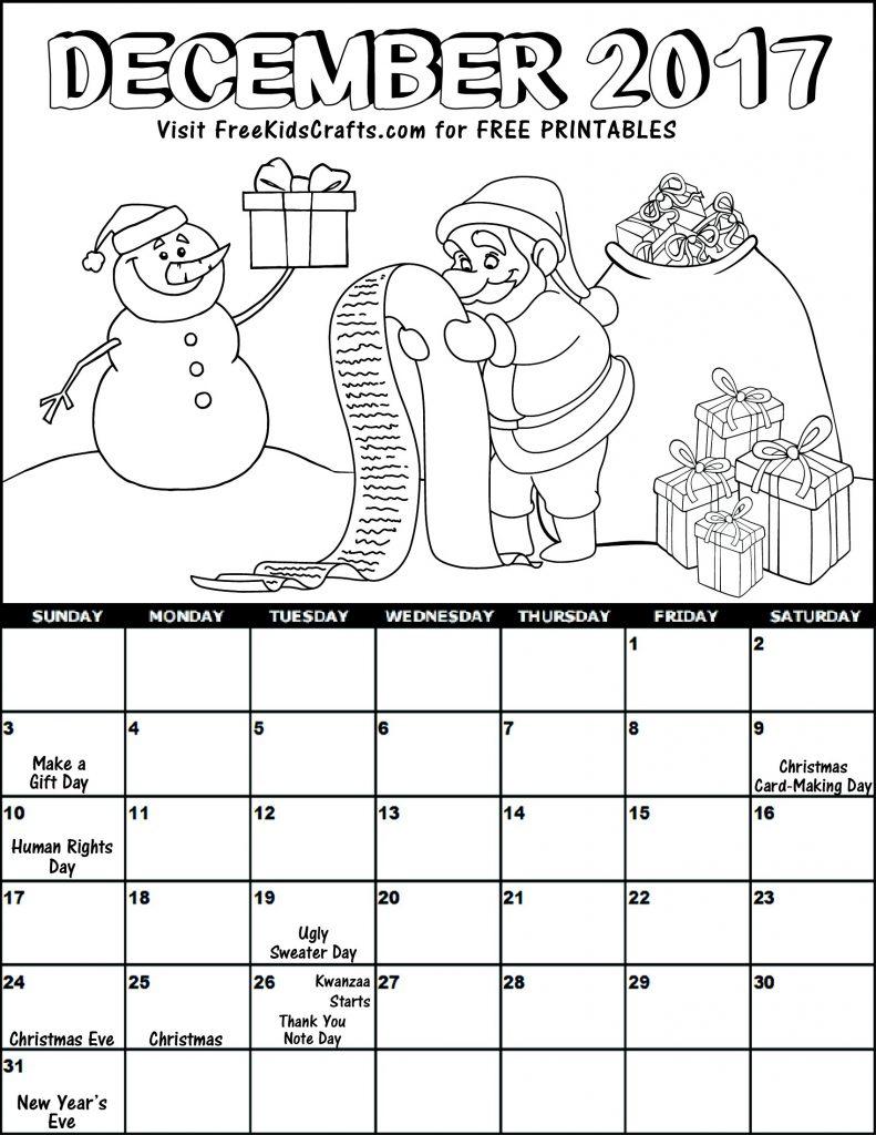 Image of Kids 2017 Printable December Coloring Calendar