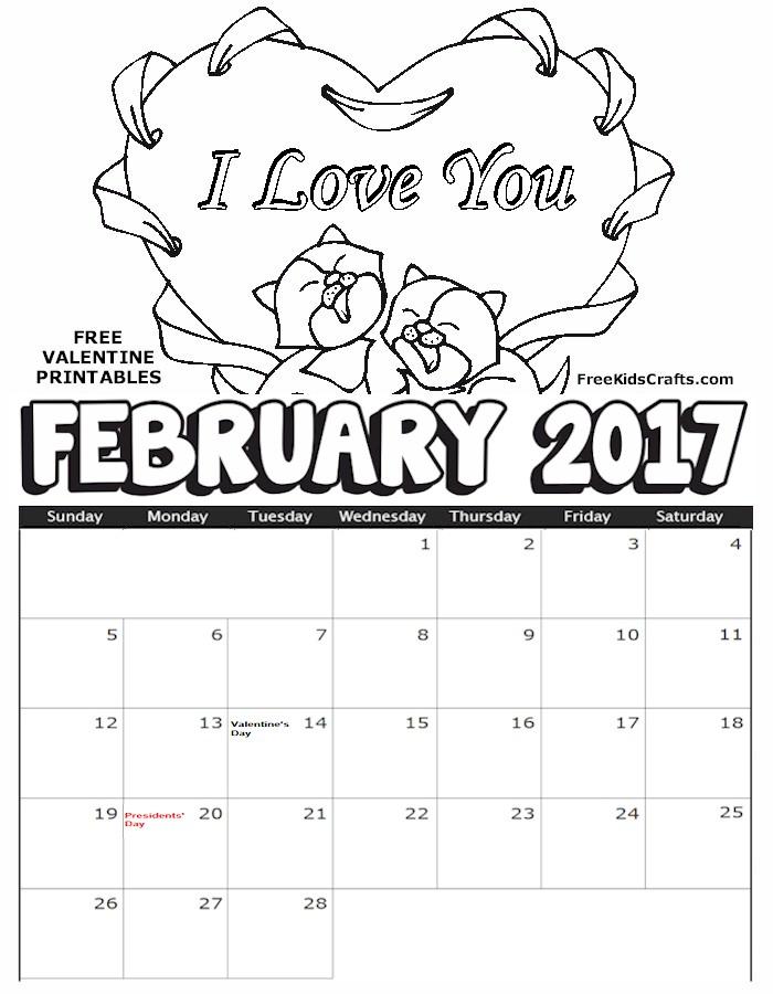 2017 February Coloring Calendar