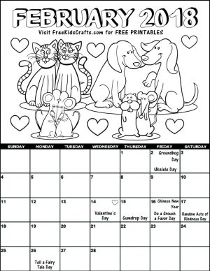 2018 Printable February Coloring Calendar For Kids