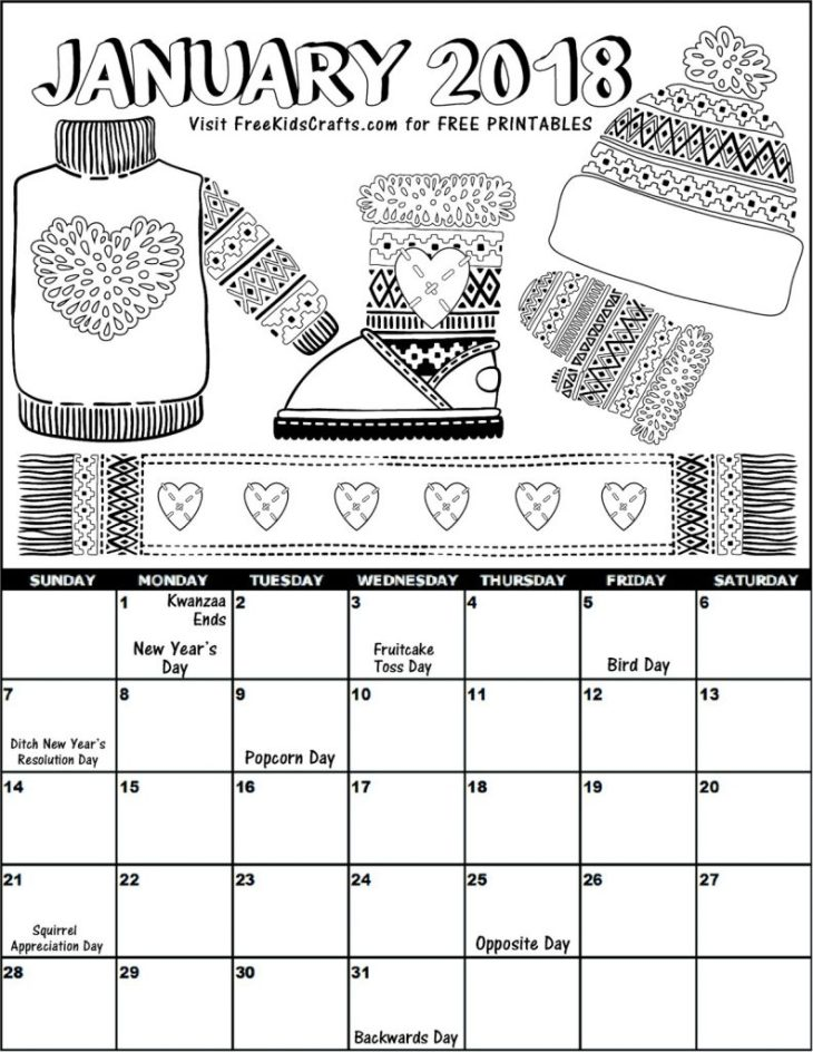 2018 Printable January Coloring Calendar