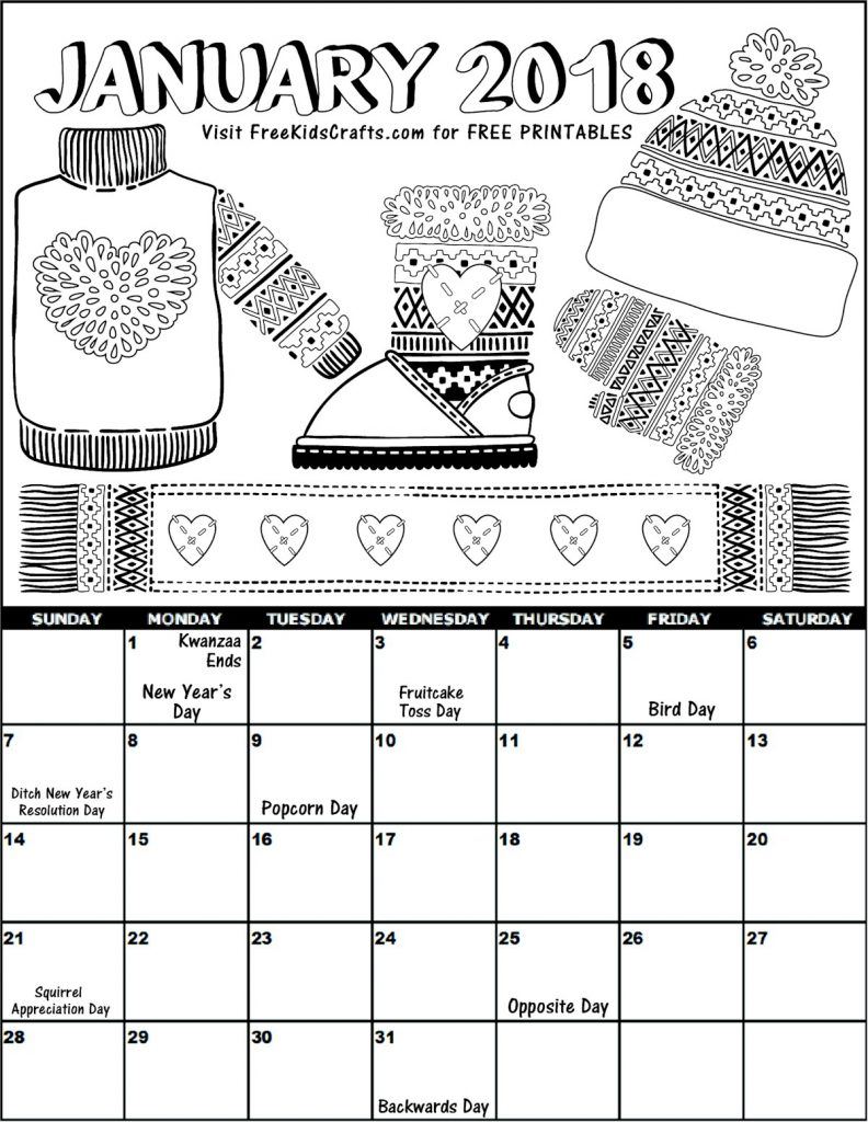 Free Printable 2018 January calendar for kids with picture to color.