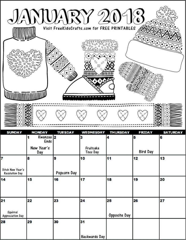 Image of 2018 Printable January Coloring Calendar