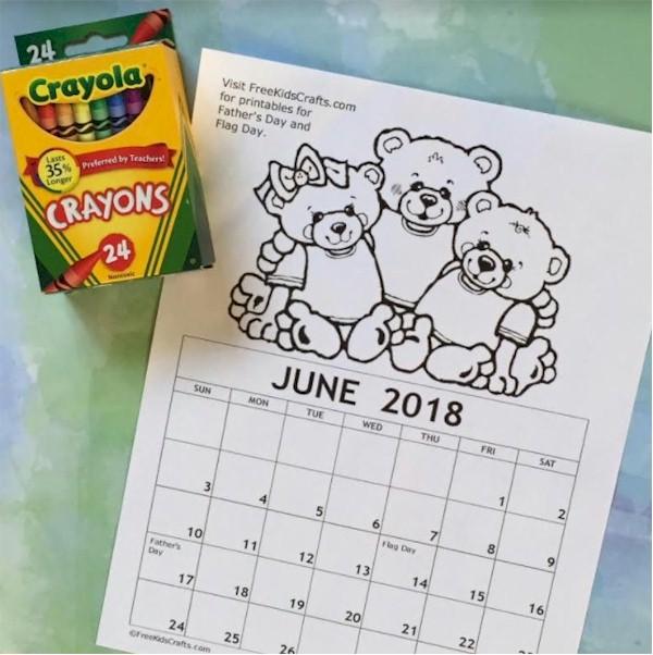 Image of Printable June Coloring Calendar