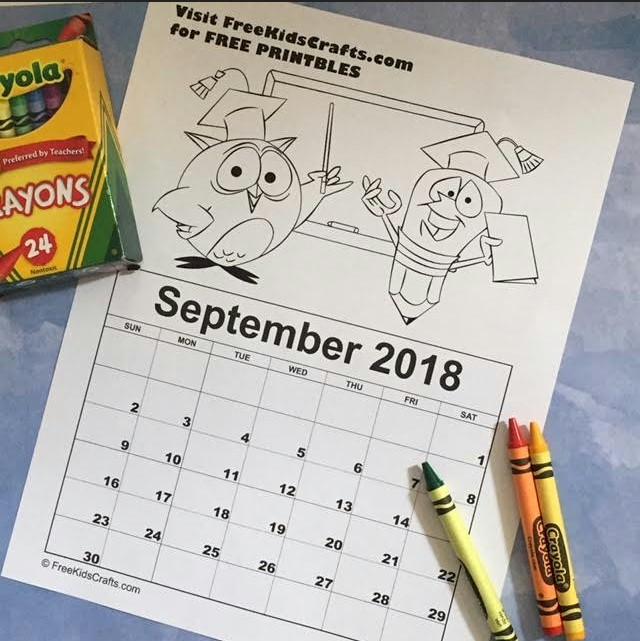 2018 Printable September Coloring Calendar