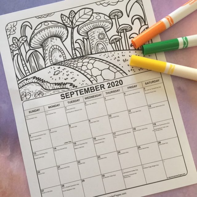 September 2020 Coloring Calendar for young children