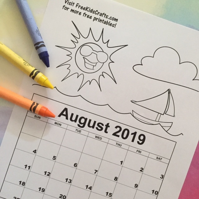 Image of Printable August Coloring Calendar