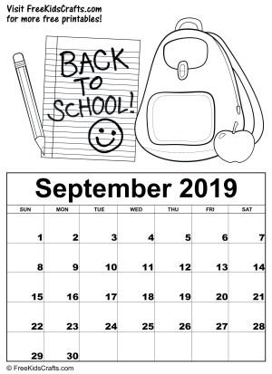 Image of 2019 Printable September Coloring Calendar